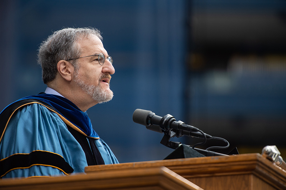 Photo of President Schlissel speaking to the crowd