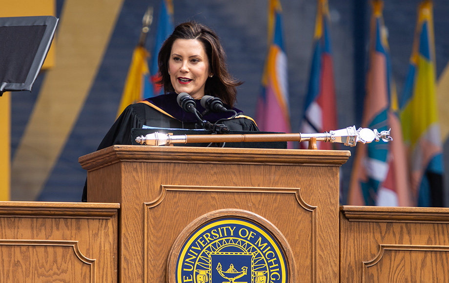 Photo of Gov. Gretchen Whitmer delivering commencement address